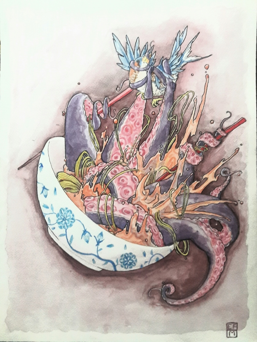 Drop-the-soup-1-dibujo-en-acuarela-40x30-2018
